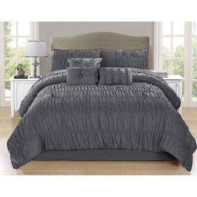 Callahan 7 Piece Comforter Set Color: Gray, Size: Queen