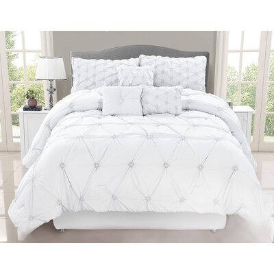 Blankenship 7 Piece Comforter Set Size: King, Color: White