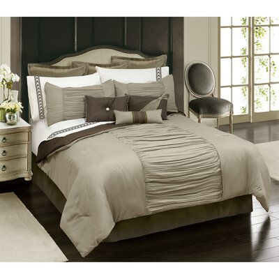 Malina 7 Piece Comforter Set Size: King, Color: Tan