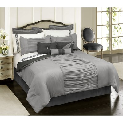 Malina 7 Piece Comforter Set Color: Gray, Size: Queen