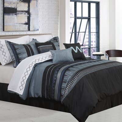 Alberts Geometric 7 Piece Comforter Set Size: King