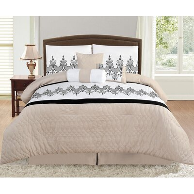 Prestwood Taupe 7 Piece Comforter Set Size: Full/Double