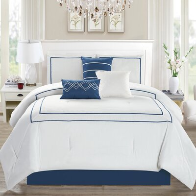 Keenes 7 Piece Comforter Set Size: Queen, Color: White/Blue