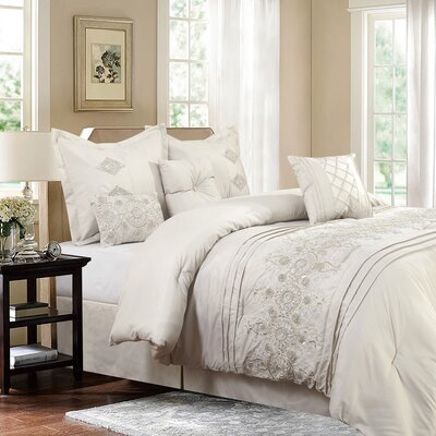 Compton Nature/Floral 7 Piece Comforter Set Size: King