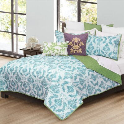 Madisyn 3 Piece Quilt Set Size: Full/Queen, Color: Aqua