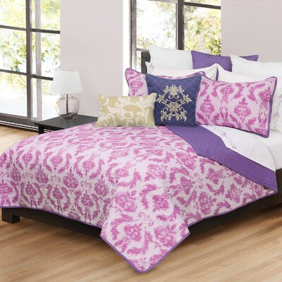 Madisyn 3 Piece Quilt Set Size: King, Color: Pink