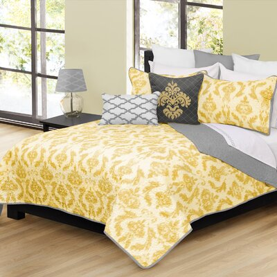 Madisyn 3 Piece Quilt Set Size: King, Color: Yellow