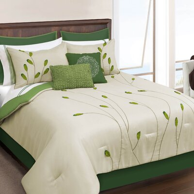 Keaton 8 Piece Comforter Set Size: Queen, Color: Green