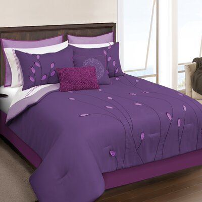 Keaton 8 Piece Comforter Set Size: King, Color: Purple