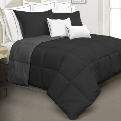 Kavanaugh 2 Piece Comforter Set Color: Black, Size: Twin
