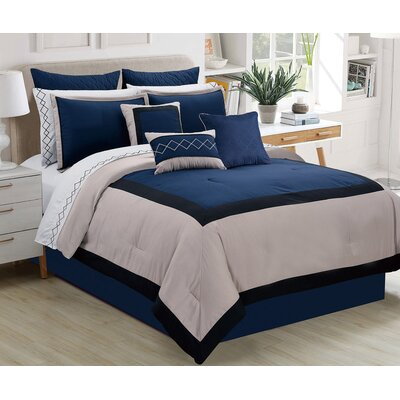 Parker Contemporary 7 Piece Comforter Set Size: Queen