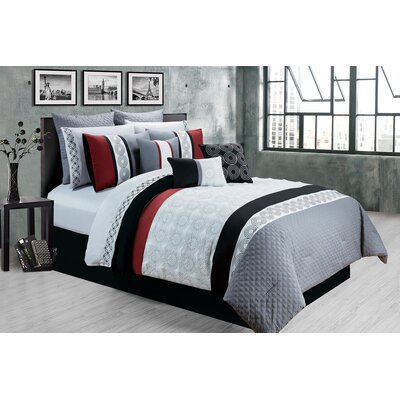 Elton 7 Piece Comforter Set Size: Full/Double, Color: Gray/Red