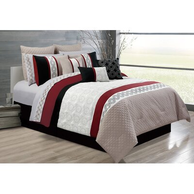 Elton 7 Piece Comforter Set Color: Beige/Red, Size: Full/Double