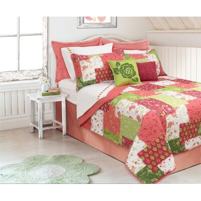 Sylvia 3 Piece Full/Queen Coverlet Set Color: Coral