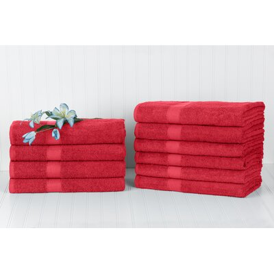 Brass Cannon Dobby Border Bath Towel Color: Red