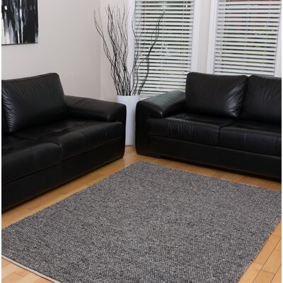 Birgitt Hand-Woven Wool/Cotton Black Area Rug