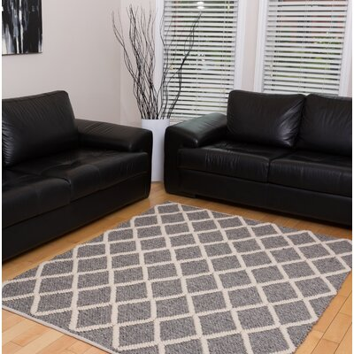 Chivers Hand-Woven Wool/Cotton Gray Area Rug