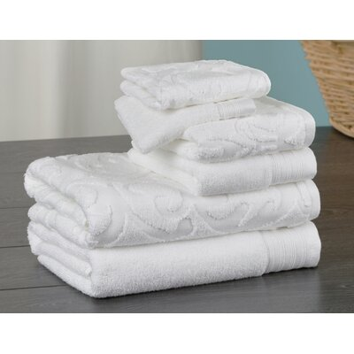 Hand Face and Bath 6 Piece Towel Set Color: White