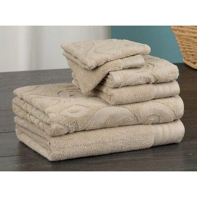 Hand Face and Bath 6 Piece Towel Set Color: Beige