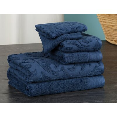 Hand Face and Bath 6 Piece Towel Set Color: Denim