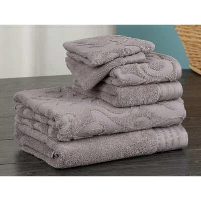 Hand Face and Bath 6 Piece Towel Set Color: Gray