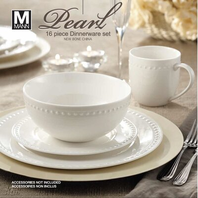 Rim Pearl 16 Piece Dinnerware Set, Service for 4 AM02585