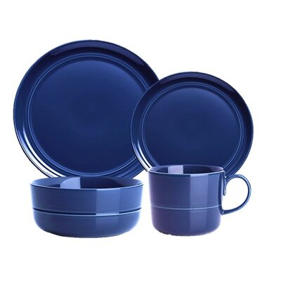 Edmonton Stoneware 16 Piece Dinnerware Set, Service for 4 Color: Blue