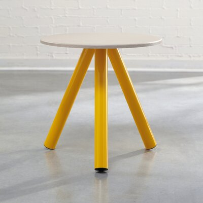 Beatriz Soft Modern End Table Color: Pickled Ash / Yellow Saffron