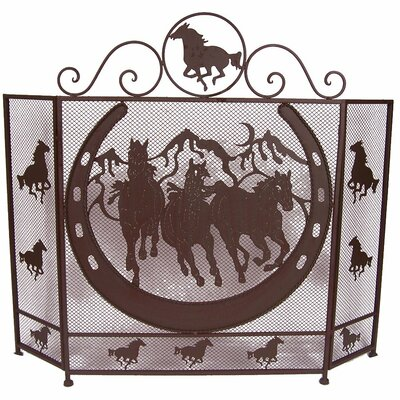 Horse Shoe 3 Panel Metal Fireplace Screen 21264