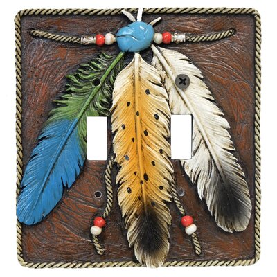 3 Feathers Double Switch Plate