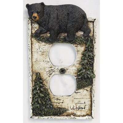 Bear On Birch Double Outlet Cover