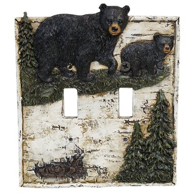 Bear On Birch Double Switch Plate