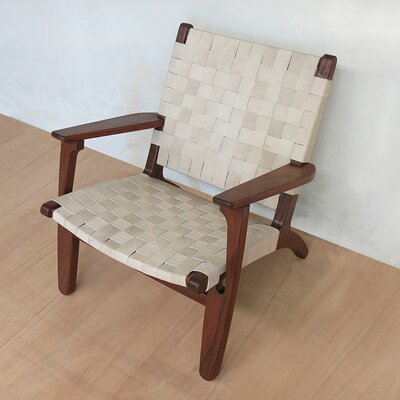 Armchair Upholstery: Natural Leather, Finish: Rosita Walnut