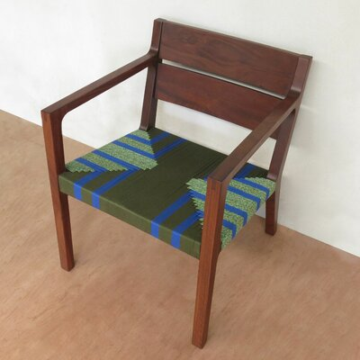 Managua Armchair Upholstery: Emerald coast pattern, Finish: Rosita Walnut
