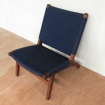 Lounge Chair Upholstery: Navy Blue, Finish: Rosita Walnut