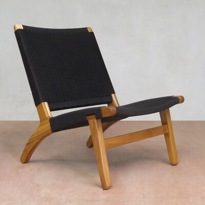 Lounge Chair Upholstery: Midnight Blue, Finish: Teak