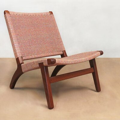 Lounge Chair Upholstery: Indigo Manila, Finish: Rosita Walnut