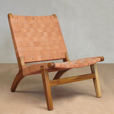 Lounge Chair Upholstery: Natural, Finish: Rosita Walnut