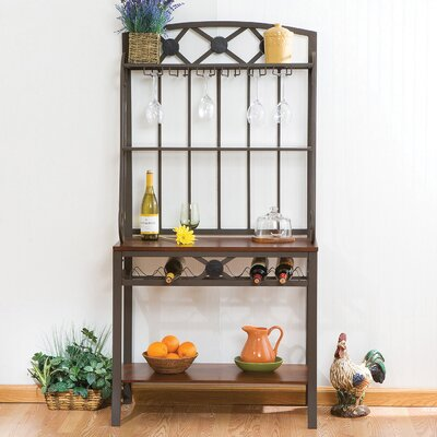 SEI Nelson Decorative II Bakers Rack with Wine Storage