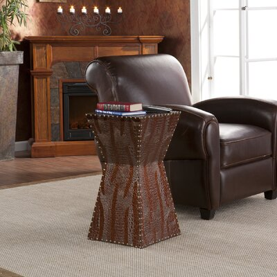 Cheap Wildon Home Cason Faux Leather Accent Table in Dark Brown (UT2533)