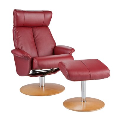 Wildon Home Asher Recliner with Ottoman - Color: Brick Red Bonded Leather at Sears.com