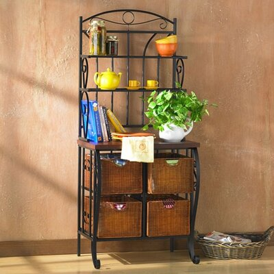 SEI Pollard Iron & Wicker Storage Bakers Rack