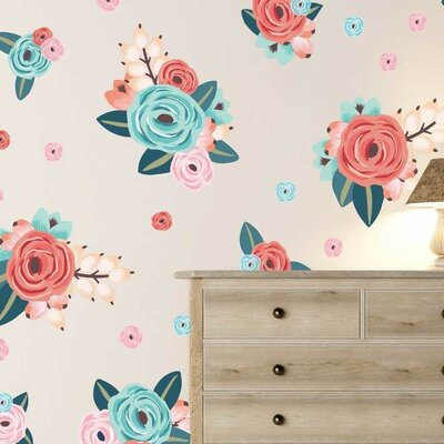 29 Piece Graphic Flowers Wall Decal Set UW1649