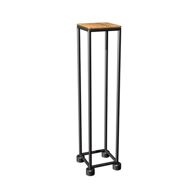 Mya I Series End Table Top Finish: Teak, Base Finish: Matte Black