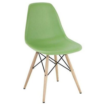 Coatesville Dining Chair Seat Color: Green, Leg Color: Natural Wood