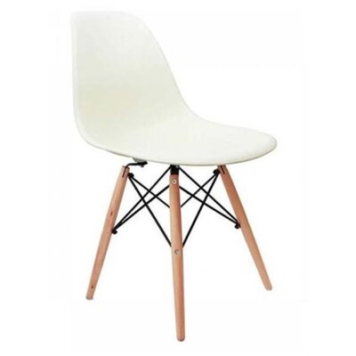 Coatesville Dining Chair Seat Color: Cream, Leg Color: Natural Wood