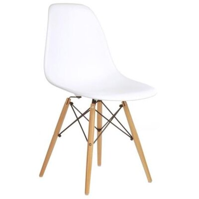 Coatesville Dining Chair Seat Color: White, Leg Color: Natural Wood