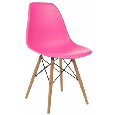 Coatesville Dining Chair Seat Color: Hot Pink, Leg Color: Natural Wood