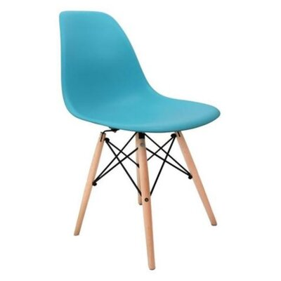 Coatesville Dining Chair Seat Color: Turqouise, Leg Color: Natural Wood