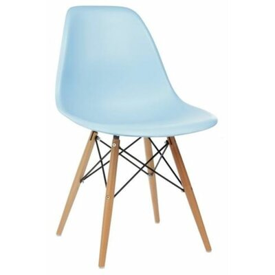 Coatesville Dining Chair Seat Color: Baby Blue, Leg Color: Natural Wood